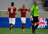 Pablo Daniel Osvaldo #9 of AS Roma celebrates after scoring a goal in the first half against El Salvador during a International Friendly at Red Bull Arena on July 27, 2012 in Harrison, New Jersey.